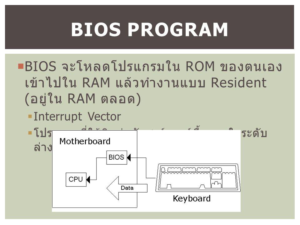  BIOS จะโหลดโปรแกรมใน ROM ของตนเอง เข้าไปใน RAM แล้วทำงานแบบ Resident ( อยู่ใน RAM ตลอด )  Interrupt Vector  โปรแกรมที่ใช้ติดต่อกับฮาร์ดแวร์พื้นฐานในระดับ ล่าง (System Call) BIOS PROGRAM