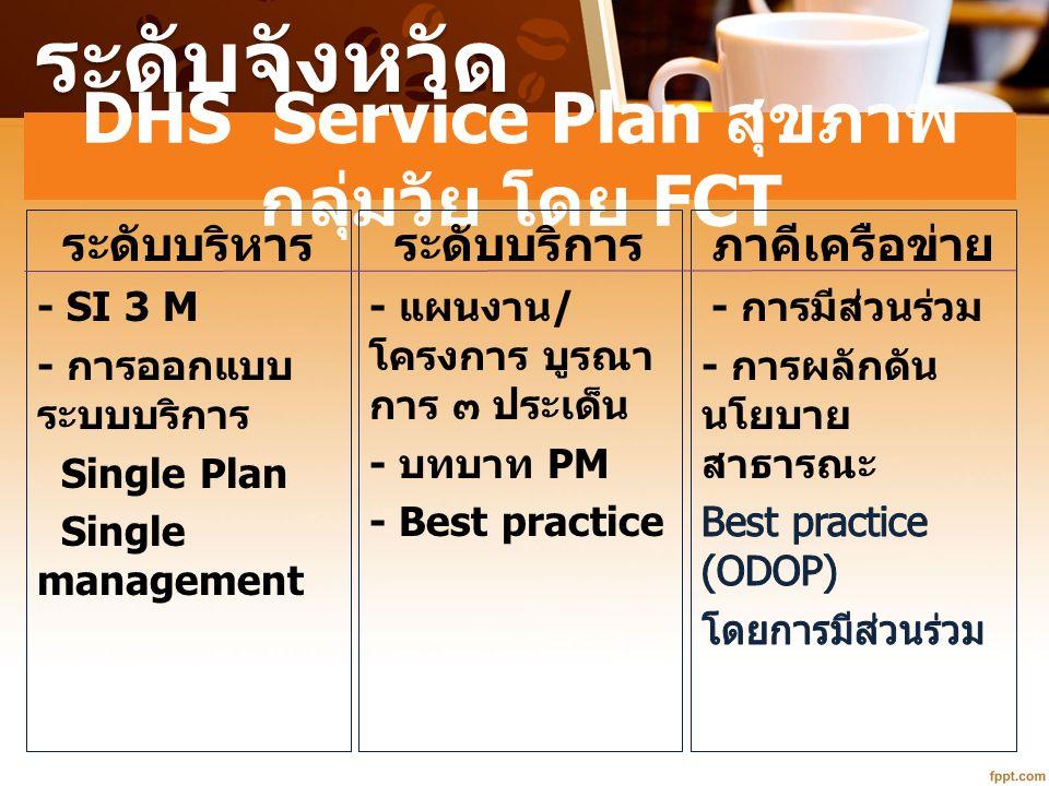 ระดับจังหวัด DHS Service Plan สุขภาพ กลุ่มวัย โดย FCT ระดับบริหาร - SI 3 M - การออกแบบ ระบบบริการ Single Plan Single management ระดับบริการ - แผนงาน /