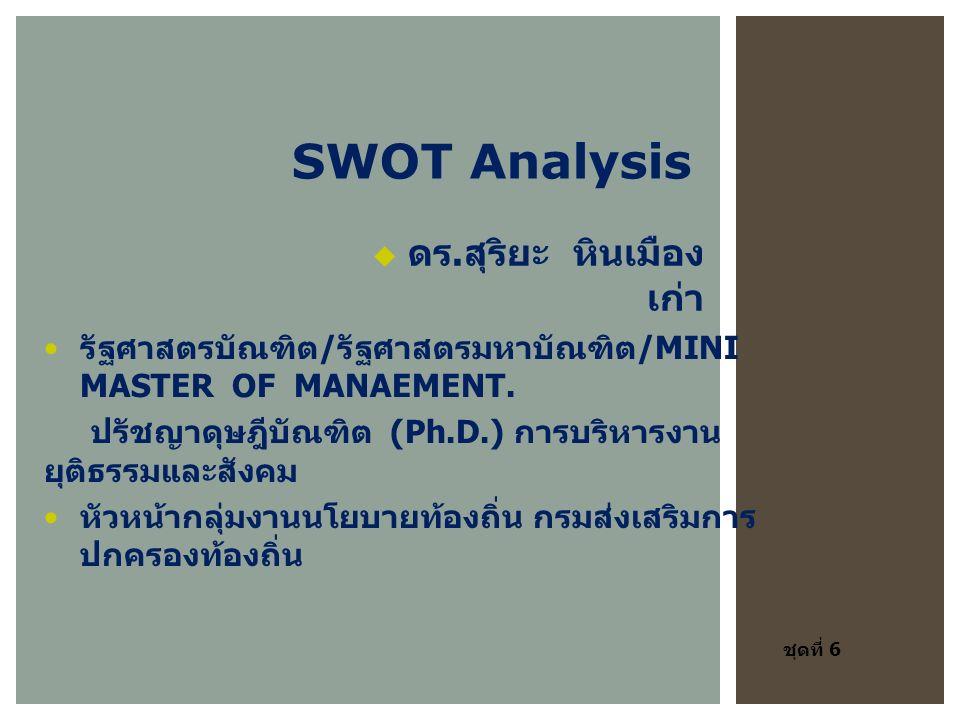 SWOT Analysis รัฐศาสตรบัณฑิต / รัฐศาสตรมหาบัณฑิต /MINI MASTER OF MANAEMENT.