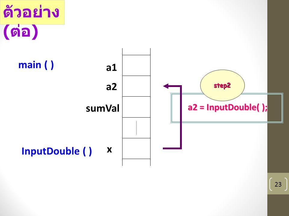 23 a1 a2 sumVal main ( ) x InputDouble ( ) a2 = InputDouble( ); ตัวอย่าง ( ต่อ ) step2