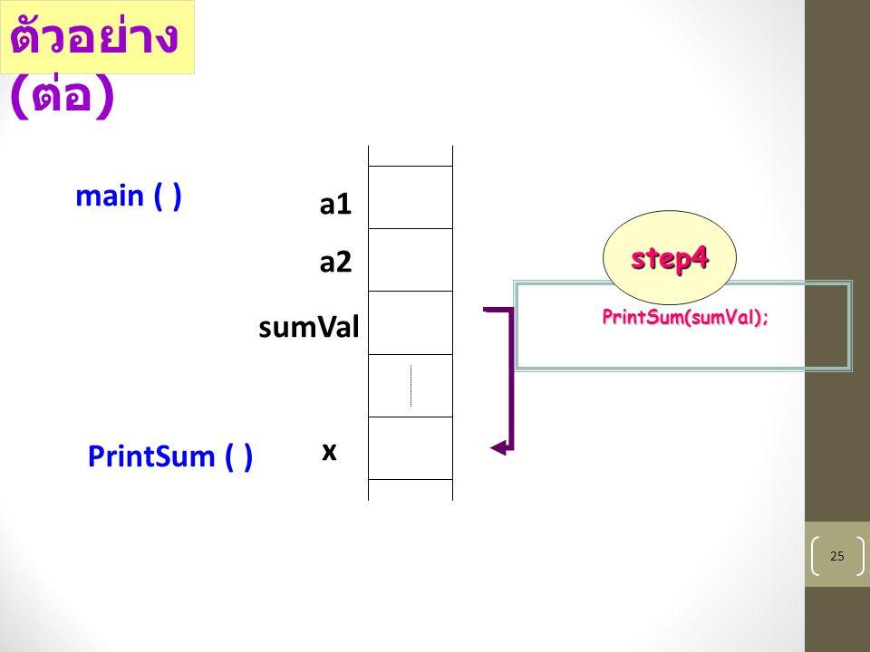 25 a1 a2 sumVal main ( ) x PrintSum ( ) PrintSum(sumVal); ตัวอย่าง ( ต่อ ) step4
