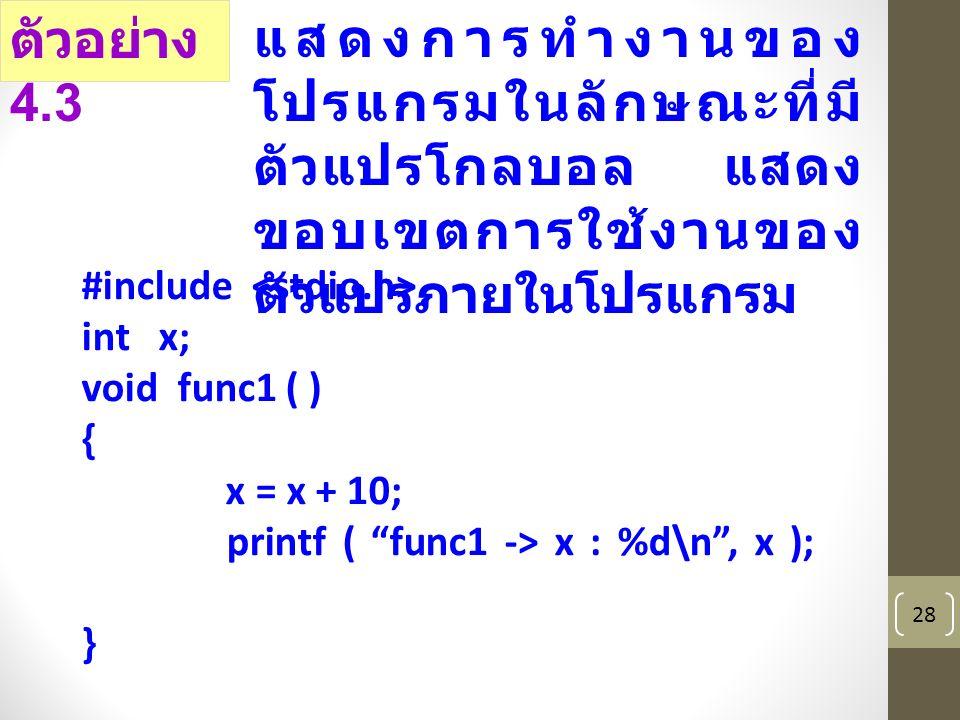 28 #include int x; void func1 ( ) { x = x + 10; printf ( func1 -> x : %d\n , x ); } ตัวอย่าง 4.3 แสดงการทำงานของ โปรแกรมในลักษณะที่มี ตัวแปรโกลบอล แสดง ขอบเขตการใช้งานของ ตัวแปรภายในโปรแกรม