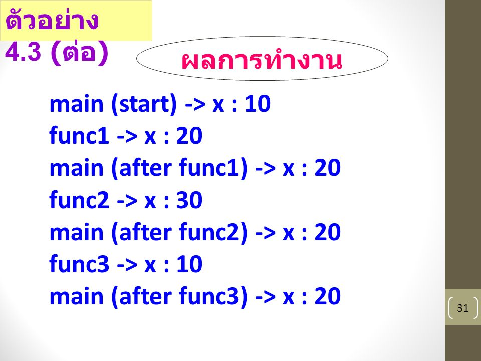 31 main (start) -> x : 10 func1 -> x : 20 main (after func1) -> x : 20 func2 -> x : 30 main (after func2) -> x : 20 func3 -> x : 10 main (after func3) -> x : 20 ตัวอย่าง 4.3 ( ต่อ ) ผลการทำงาน