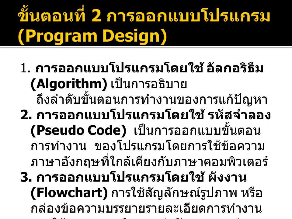 1. การออกแบบโปรแกรมโดยใช้ อัลกอริธึม (Algorithm) เป็นการอธิบาย ถึงลำดับขั้นตอนการทำงานของการแก้ปัญหา 2. การออกแบบโปรแกรมโดยใช้ รหัสจำลอง (Pseudo Code)