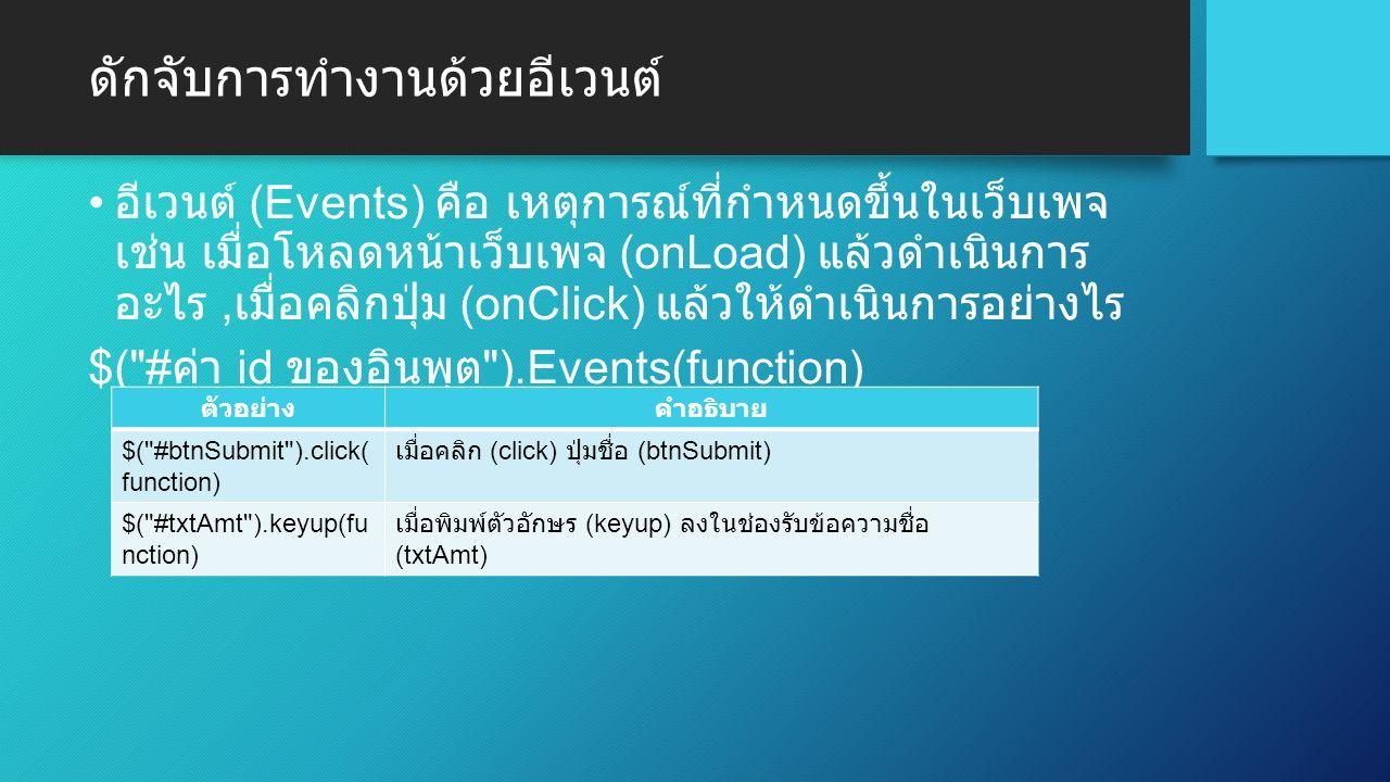 ดักจับการทำงานด้วยอีเวนต์ อีเวนต์ (Events) คือ เหตุการณ์ที่กำหนดขึ้นในเว็บเพจ เช่น เมื่อโหลดหน้าเว็บเพจ (onLoad) แล้วดำเนินการ อะไร, เมื่อคลิกปุ่ม (onClick) แล้วให้ดำเนินการอย่างไร $( # ค่า id ของอินพุต ).Events(function) ตัวอย่างคำอธิบาย $( #btnSubmit ).click( function) เมื่อคลิก (click) ปุ่มชื่อ (btnSubmit) $( #txtAmt ).keyup(fu nction) เมื่อพิมพ์ตัวอักษร (keyup) ลงในช่องรับข้อความชื่อ (txtAmt)
