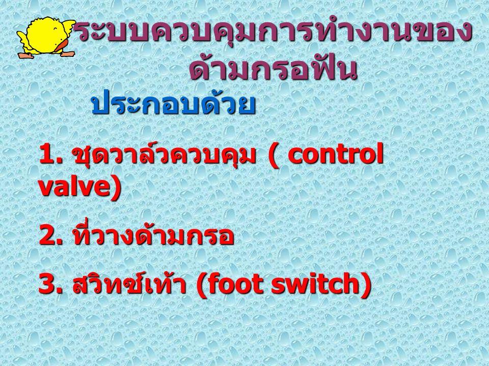 ระบบควบคุมการทำงานของ ด้ามกรอฟัน ประกอบด้วย 1. ชุดวาล์วควบคุม ( control valve) 2. ที่วางด้ามกรอ 3. สวิทซ์เท้า (foot switch)