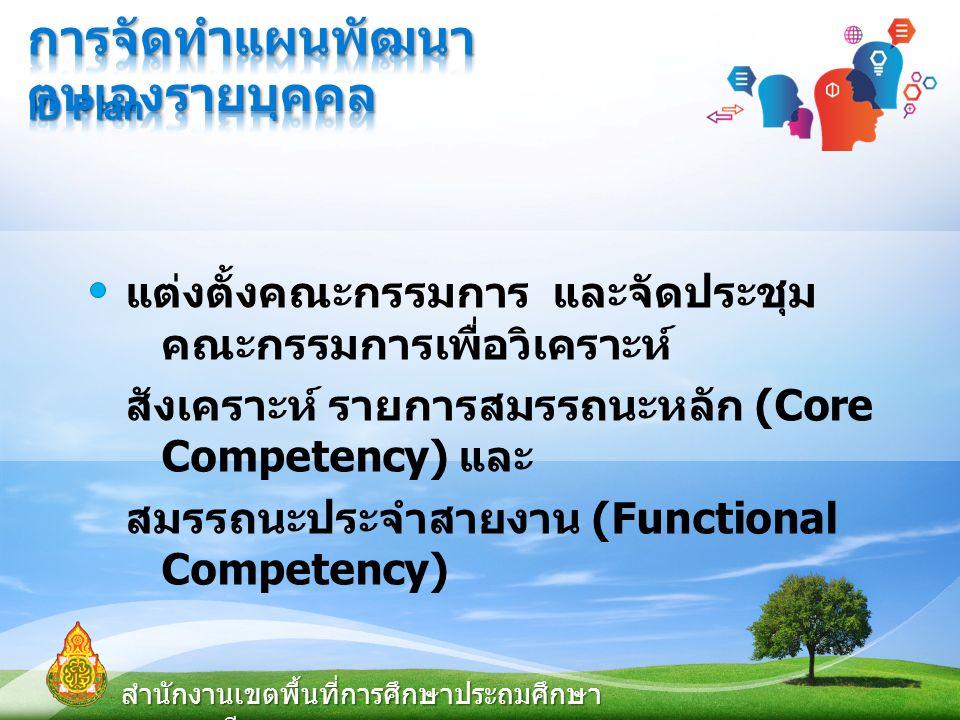 แต่งตั้งคณะกรรมการ และจัดประชุม คณะกรรมการเพื่อวิเคราะห์ สังเคราะห์ รายการสมรรถนะหลัก (Core Competency) และ สมรรถนะประจำสายงาน (Functional Competency) สำนักงานเขตพื้นที่การศึกษาประถมศึกษา สุพรรณบุรี เขต ๑ ID Plan