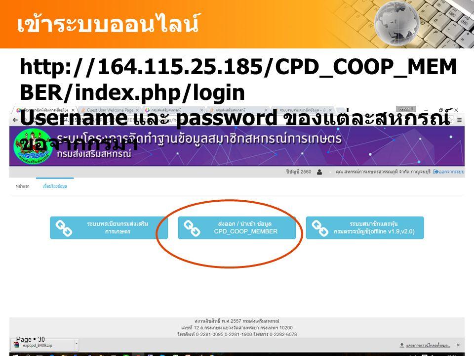 เข้าระบบออนไลน์ Page  30 http://164.115.25.185/CPD_COOP_MEM BER/index.php/login Username และ password ของแต่ละสหกรณ์ ขอจากกรมฯ