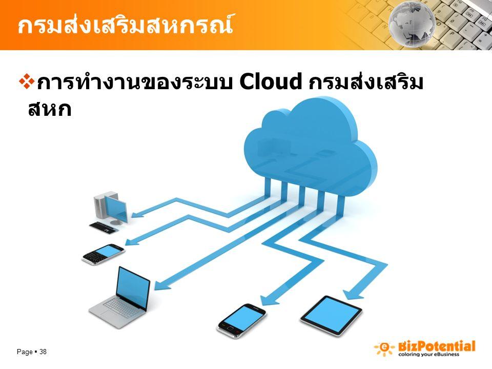 กรมส่งเสริมสหกรณ์  การทำงานของระบบ Cloud กรมส่งเสริม สหกรณ์ Page  38