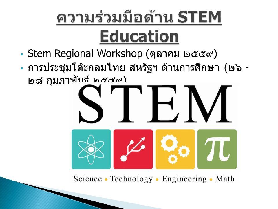  Stem Regional Workshop ( ตุลาคม ๒๕๕๙ )  การประชุมโต๊ะกลมไทย สหรัฐฯ ด้านการศึกษา ( ๒๖ - ๒๘ กุมภาพันธ์ ๒๕๕๙ )