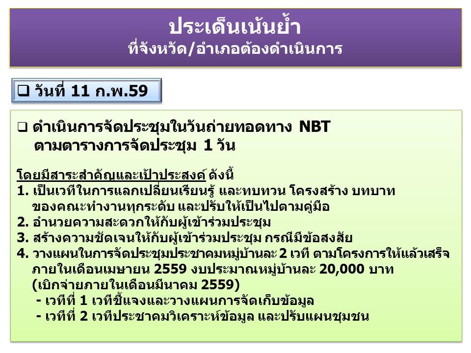  ดำเนินการจัดประชุมในวันถ่ายทอดทาง NBT ตามตารางการจัดประชุม 1 วัน โดยมีสาระสำคัญและเป้าประสงค์ ดังนี้ 1.