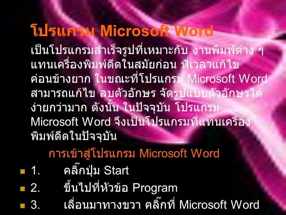 โปรแกรม Microsoft Word เป็นโปรแกรมสำเร็จรูปที่เหมาะกับ งานพิมพ์ต่าง ๆ แทนเครื่องพิมพ์ดีดในสมัยก่อน ที่เวลาแก้ไข ค่อนข้างยาก ในขณะที่โปรแกรม Microsoft Word สามารถแก้ไข ลบตัวอักษร จัดรูปแบบตัวอักษรได้ ง่ายกว่ามาก ดังนั้น ในปัจจุบัน โปรแกรม Microsoft Word จึงเป็นโปรแกรมที่แทนเครื่อง พิมพ์ดีดในปัจจุบัน การเข้าสู่โปรแกรม Microsoft Word 1.
