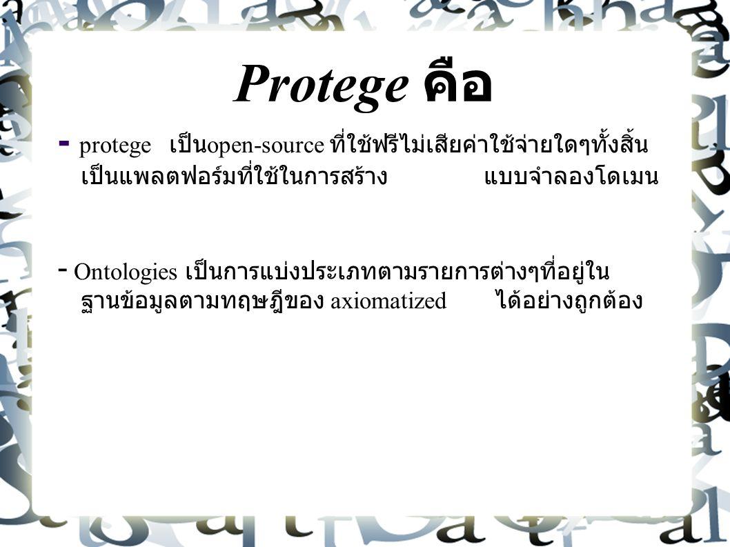 Protege คือ - protege เป็น open-source ที่ใช้ฟรีไม่เสียค่าใช้จ่ายใดๆทั้งสิ้น เป็นแพลตฟอร์มที่ใช้ในการสร้าง แบบจำลองโดเมน -  Ontologies เป็นการแบ่งประเภทตามรายการต่างๆที่อยู่ใน ฐานข้อมูลตามทฤษฎีของ axiomatized ได้อย่างถูกต้อง
