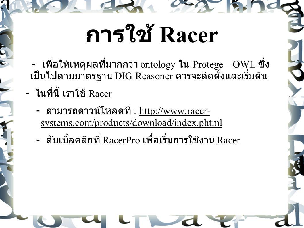 การใช้ Racer - เพื่อให้เหตุผลที่มากกว่า ontology ใน Protege – OWL ซึ่ง เป็นไปตามมาตรฐาน DIG Reasoner ควรจะติดตั้งและเริ่มต้น - ในที่นี้ เราใช้ Racer - สามารถดาวน์โหลดที่ : http://www.racer- systems.com/products/download/index.phtml - ดับเบิ้ลคลิกที่ RacerPro เพื่อเริ่มการใช้งาน Racer