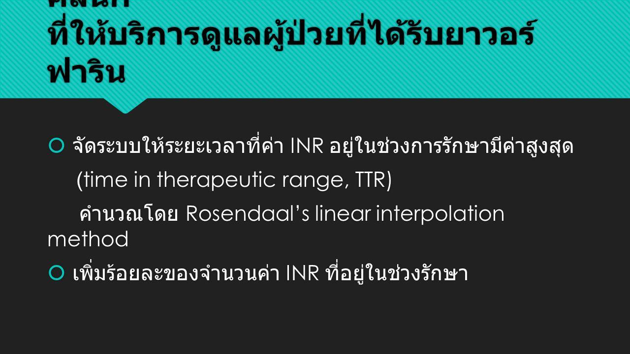 เป้าหมายและตัวชี้วัดทางคุณภาพของ คลินิก ที่ให้บริการดูแลผู้ป่วยที่ได้รับยาวอร์ ฟาริน  จัดระบบให้ระยะเวลาที่ค่า INR อยู่ในช่วงการรักษามีค่าสูงสุด (time in therapeutic range, TTR) คำนวณโดย Rosendaal's linear interpolation method  เพิ่มร้อยละของจำนวนค่า INR ที่อยู่ในช่วงรักษา  จัดระบบให้ระยะเวลาที่ค่า INR อยู่ในช่วงการรักษามีค่าสูงสุด (time in therapeutic range, TTR) คำนวณโดย Rosendaal's linear interpolation method  เพิ่มร้อยละของจำนวนค่า INR ที่อยู่ในช่วงรักษา
