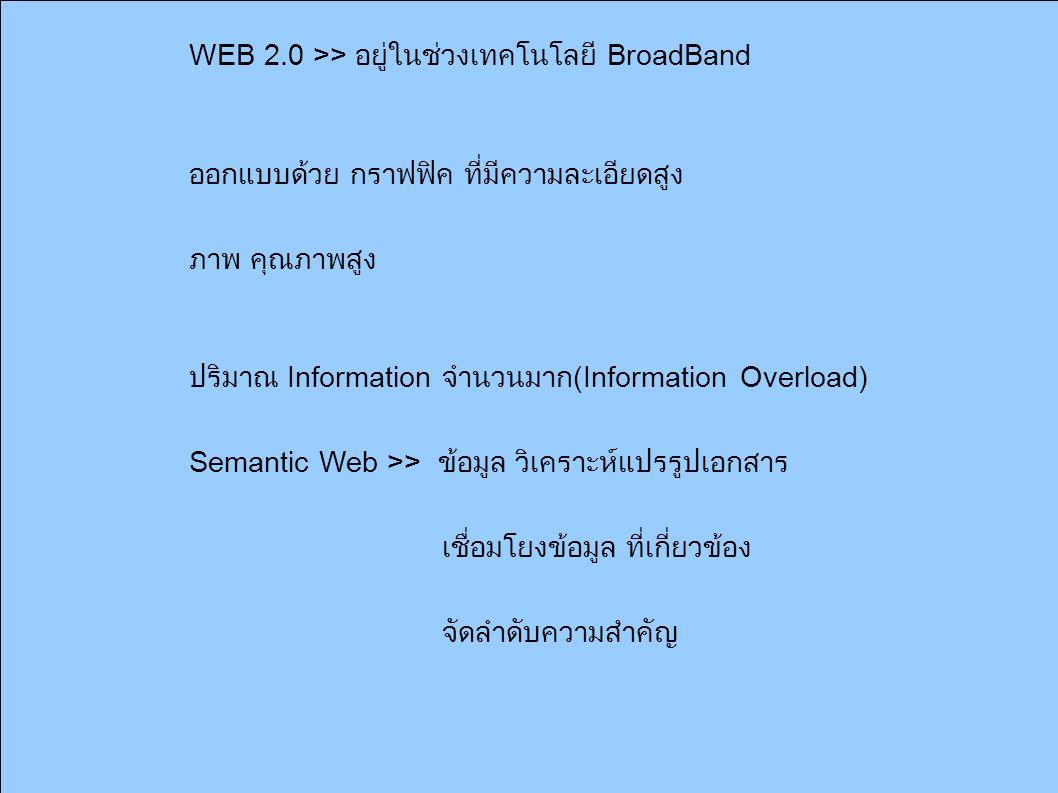 WEB 2.0 >> อยู่ในช่วงเทคโนโลยี BroadBand ออกแบบด้วย กราฟฟิค ที่มีความละเอียดสูง ภาพ คุณภาพสูง ปริมาณ Information จำนวนมาก (Information Overload) Semantic Web >> ข้อมูล วิเคราะห์แปรรูปเอกสาร เชื่อมโยงข้อมูล ที่เกี่ยวข้อง จัดลำดับความสำคัญ
