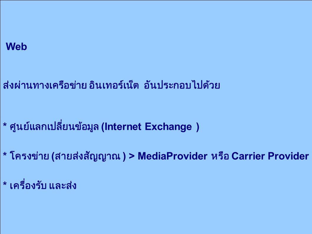 Web ส่งผ่านทางเครือข่าย อินเทอร์เน็ต อันประกอบไปด้วย * ศูนย์แลกเปลี่ยนข้อมูล (Internet Exchange ) * โครงข่าย ( สายส่งสัญญาณ ) > MediaProvider หรือ Carrier Provider * เครื่องรับ และส่ง
