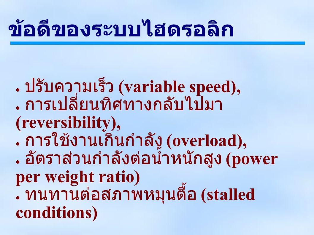 ข้อดีของระบบไฮดรอลิก ● ปรับความเร็ว (variable speed), ● การเปลี่ยนทิศทางกลับไปมา (reversibility), ● การใช้งานเกินกำลัง (overload), ● อัตราส่วนกำลังต่อน้ำหนักสูง (power per weight ratio) ● ทนทานต่อสภาพหมุนตื้อ (stalled conditions)