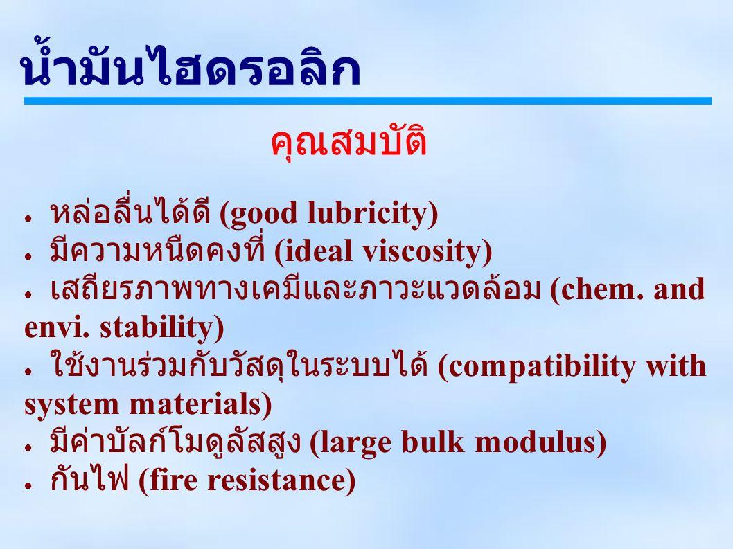 ● หล่อลื่นได้ดี (good lubricity) ● มีความหนืดคงที่ (ideal viscosity) ● เสถียรภาพทางเคมีและภาวะแวดล้อม (chem.
