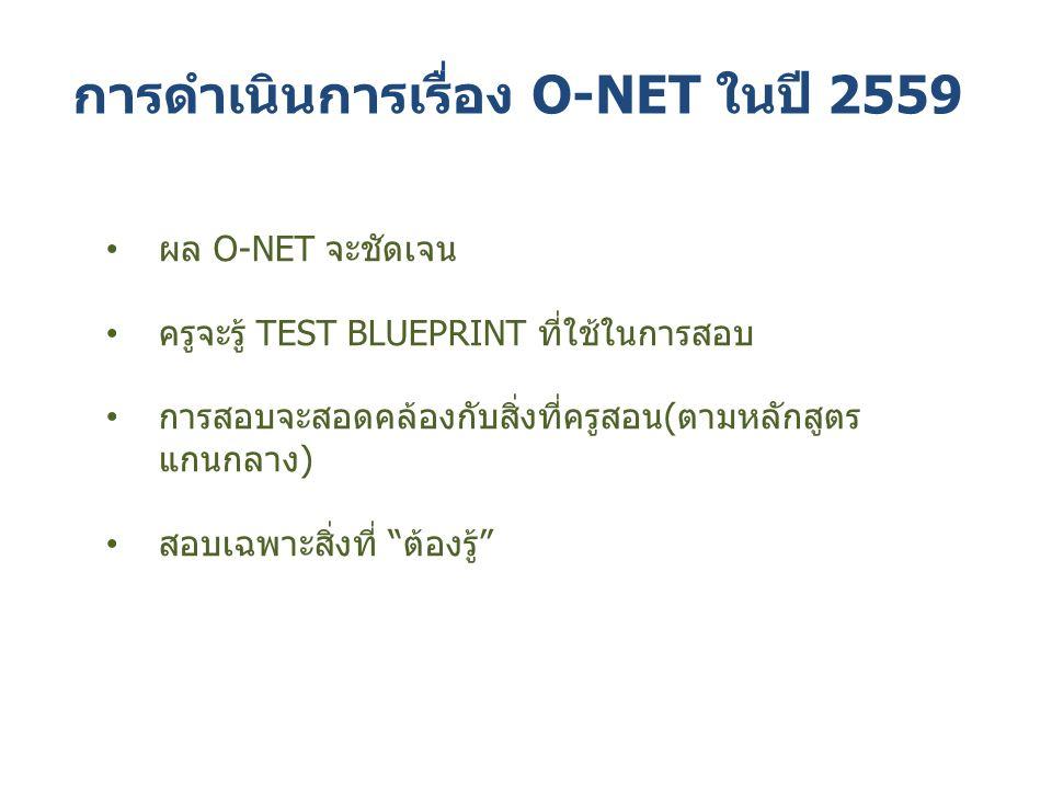 การดำเนินการเรื่อง O-NET ในปี 2559 ผล O-NET จะชัดเจน ครูจะรู้ TEST BLUEPRINT ที่ใช้ในการสอบ การสอบจะสอดคล้องกับสิ่งที่ครูสอน(ตามหลักสูตร แกนกลาง) สอบเฉพาะสิ่งที่ ต้องรู้