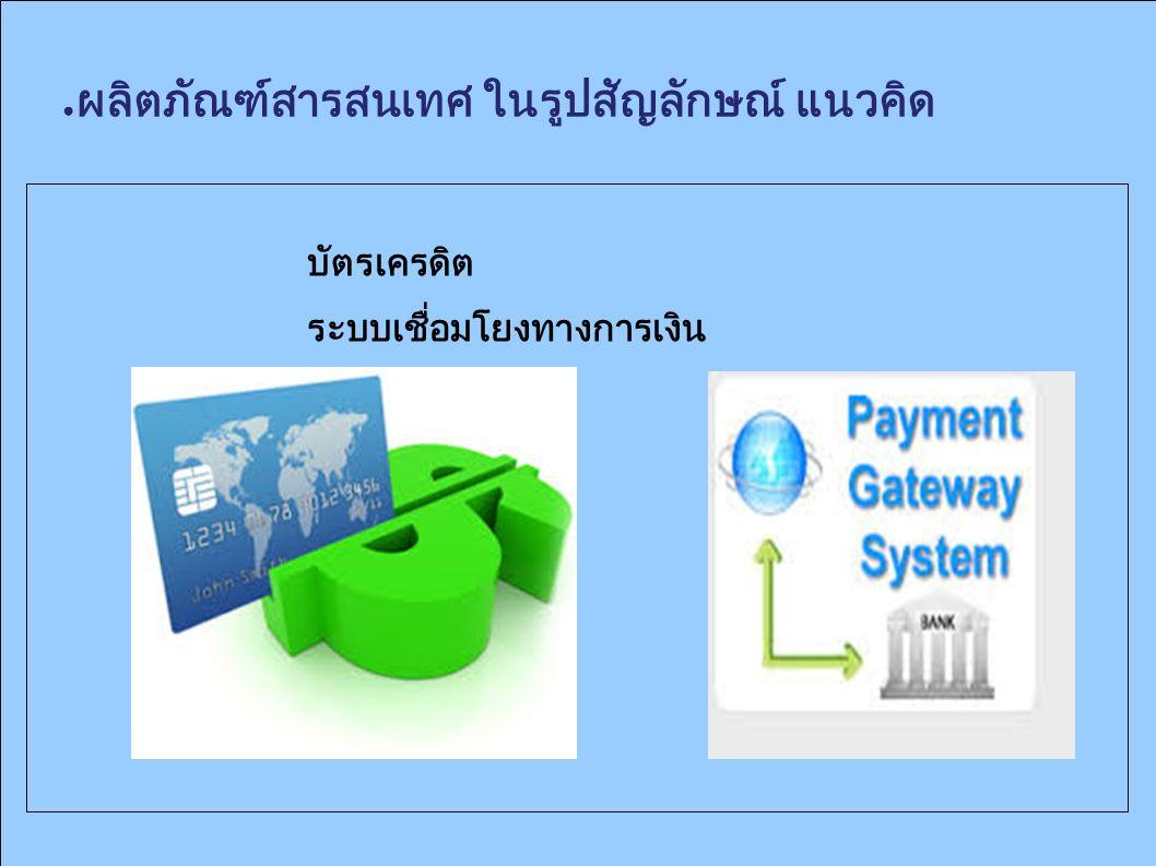 ● ผลิตภัณฑ์สารสนเทศ ในรูปสัญลักษณ์ แนวคิด บัตรเครดิต ระบบเชื่อมโยงทางการเงิน