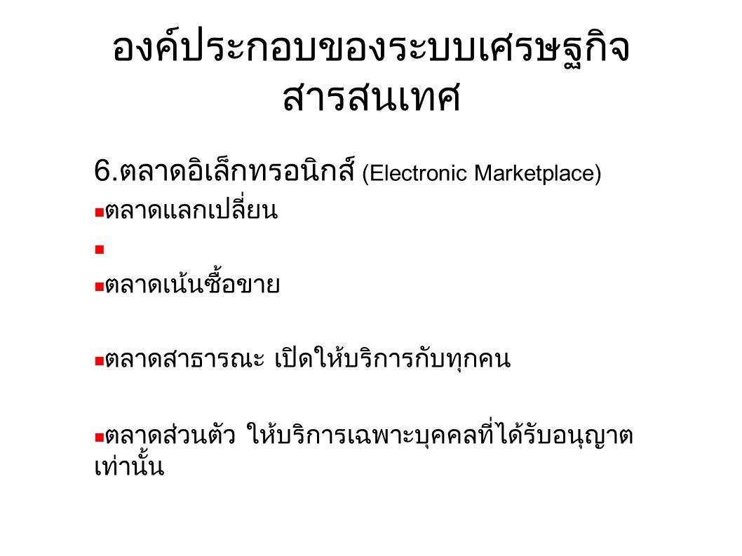 องค์ประกอบของระบบเศรษฐกิจ สารสนเทศ 6.