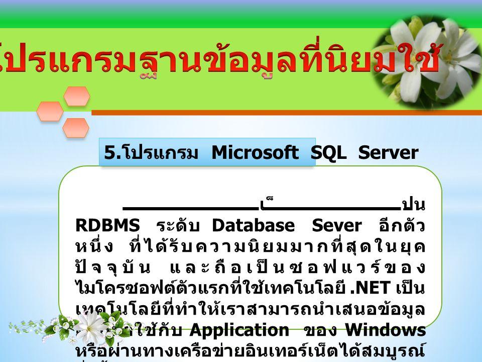 เป็น RDBMS ระดับ Database Sever อีกตัว หนึ่ง ที่ได้รับความนิยมมากที่สุดในยุค ปัจจุบัน และถือเป็นซอฟแวร์ของ ไมโครซอฟต์ตัวแรกที่ใช้เทคโนโลยี.NET เป็น เทคโนโลยีที่ทำให้เราสามารถนำเสนอข้อมูล ออกมาใช้กับ Application ของ Windows หรือผ่านทางเครือข่ายอินเทอร์เน็ตได้สมบูรณ์ ยิ่งขึ้น 5.