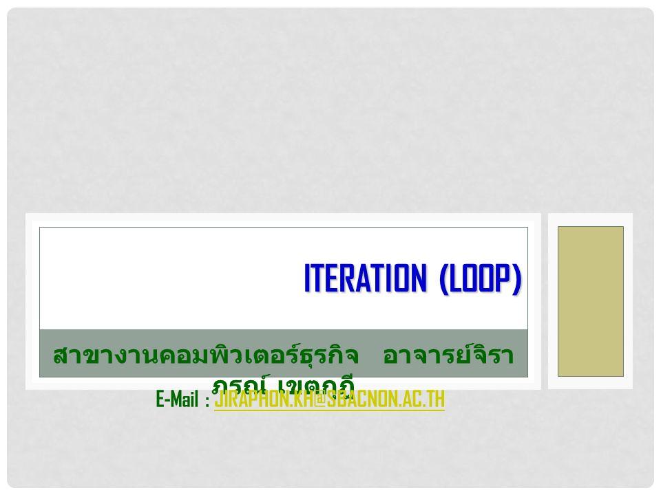 ITERATION (LOOP) สาขางานคอมพิวเตอร์ธุรกิจอาจารย์จิรา ภรณ์ เขตกุฎี E-Mail : JIRAPHON.KH@SBACNON.AC.THJIRAPHON.KH@SBACNON.AC.TH
