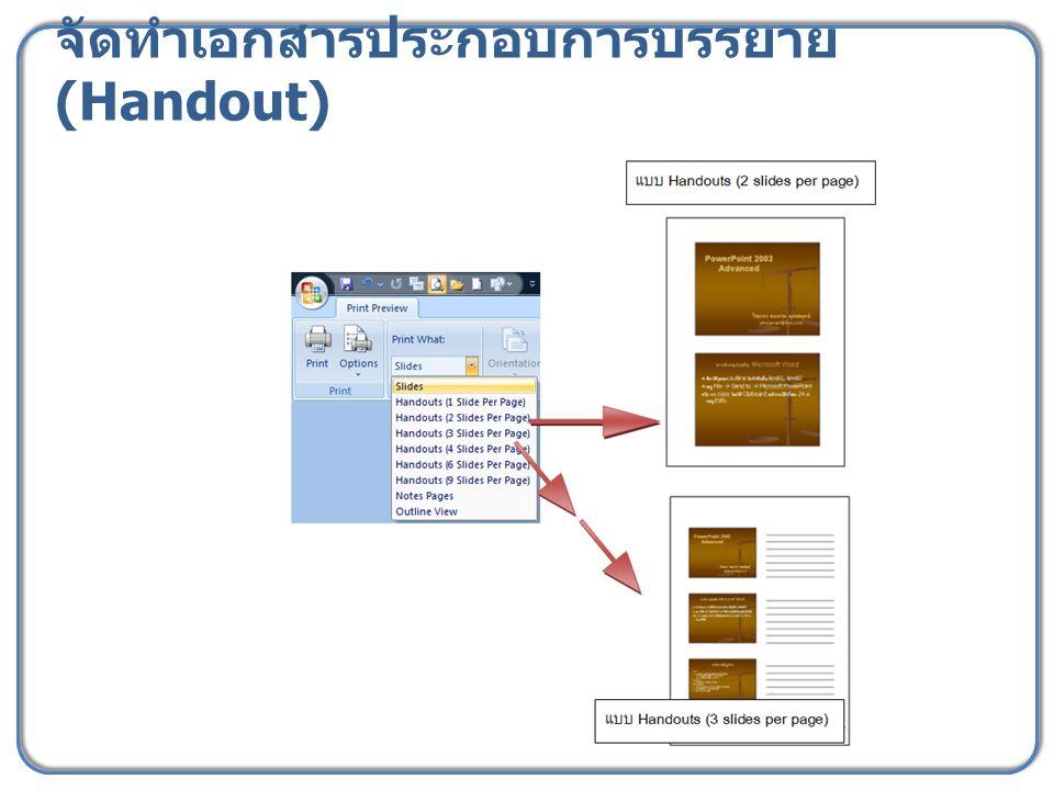 จัดทำเอกสารประกอบการบรรยาย (Handout)