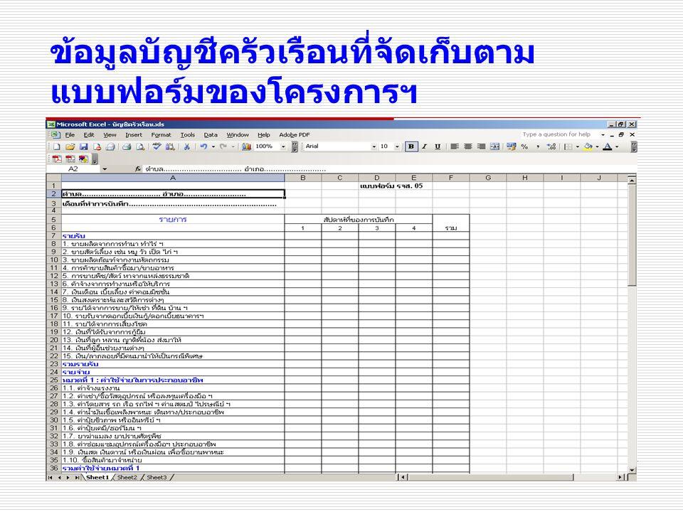 4 ข้อมูลบัญชีครัวเรือนที่จัดเก็บตาม แบบฟอร์มของโครงการฯ