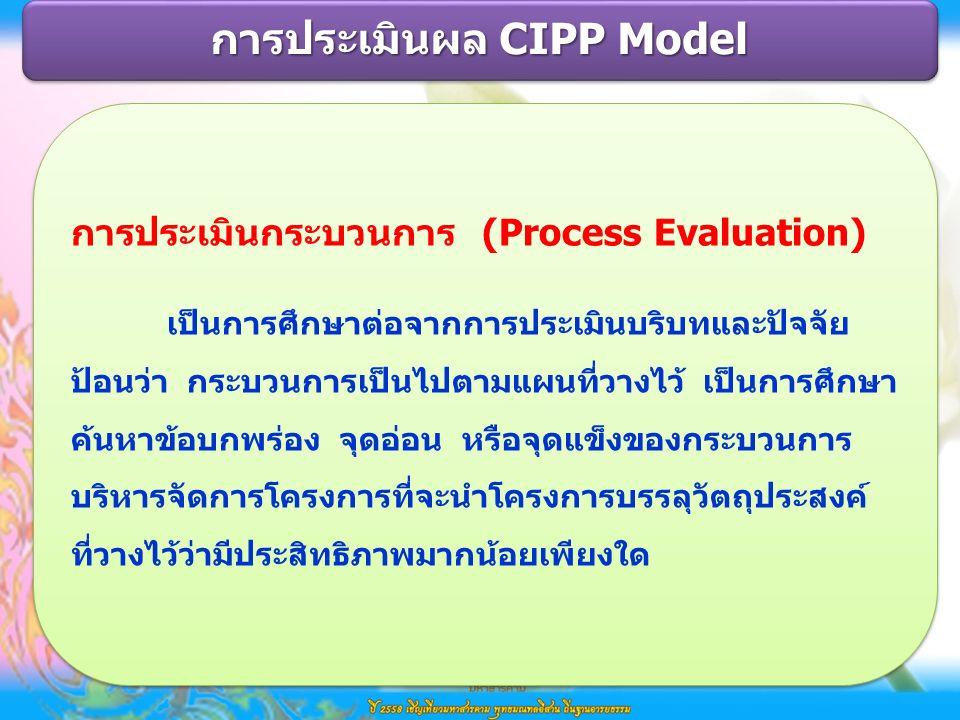 การประเมินกระบวนการ (Process Evaluation) เป็นการศึกษาต่อจากการประเมินบริบทและปัจจัย ป้อนว่า กระบวนการเป็นไปตามแผนที่วางไว้ เป็นการศึกษา ค้นหาข้อบกพร่อง จุดอ่อน หรือจุดแข็งของกระบวนการ บริหารจัดการโครงการที่จะนำโครงการบรรลุวัตถุประสงค์ ที่วางไว้ว่ามีประสิทธิภาพมากน้อยเพียงใด การประเมินกระบวนการ (Process Evaluation) เป็นการศึกษาต่อจากการประเมินบริบทและปัจจัย ป้อนว่า กระบวนการเป็นไปตามแผนที่วางไว้ เป็นการศึกษา ค้นหาข้อบกพร่อง จุดอ่อน หรือจุดแข็งของกระบวนการ บริหารจัดการโครงการที่จะนำโครงการบรรลุวัตถุประสงค์ ที่วางไว้ว่ามีประสิทธิภาพมากน้อยเพียงใด การประเมินผล CIPP Model
