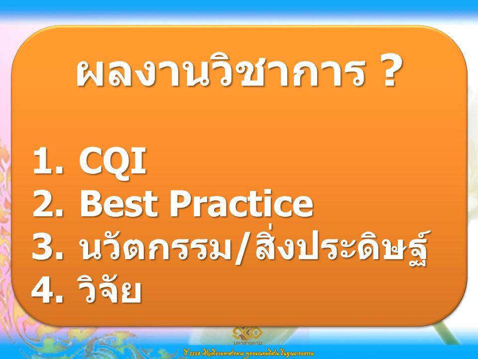 ผลงานวิชาการ . 1.CQI 2.Best Practice 3.นวัตกรรม/สิ่งประดิษฐ์ 4.วิจัย ผลงานวิชาการ .
