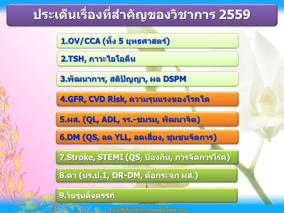 1.OV/CCA (ทั้ง 5 ยุทธศาสตร์) 2.TSH, ภาวะไอโอดีน ประเด็นเรื่องที่สำคัญของวิชาการ 2559 3.พัฒนาการ, สติปัญญา, ผล DSPM 4.GFR, CVD Risk, ความรุนแรงของโรคไต 6.DM (QS, ลด YLL, ลดเสี่ยง, ชุมชนจัดการ) 5.ผส.