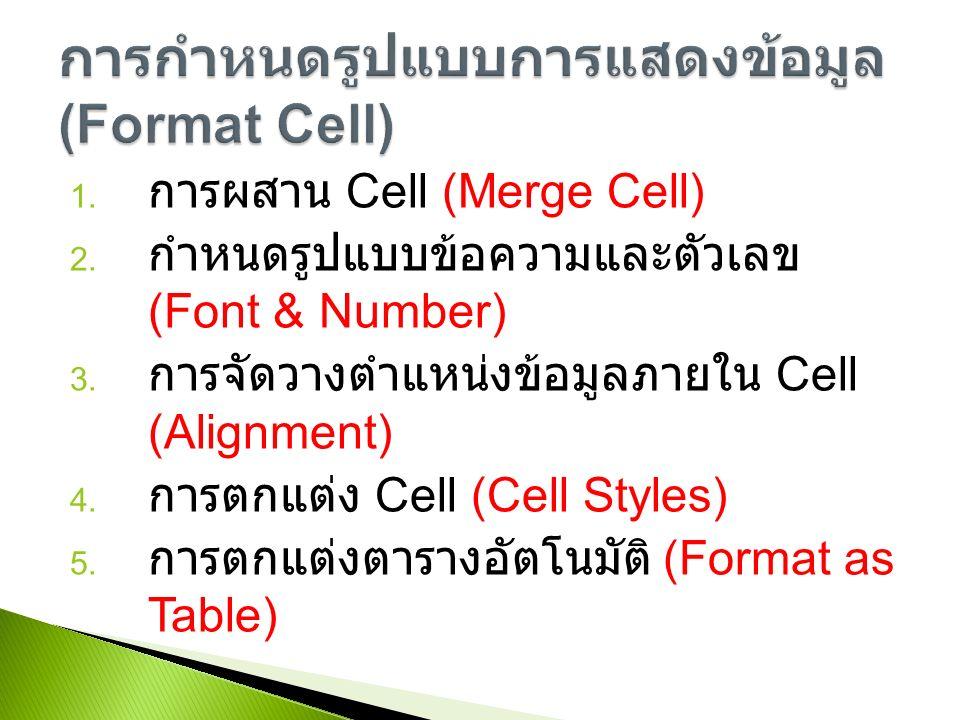 1. การผสาน Cell (Merge Cell) 2. กำหนดรูปแบบข้อความและตัวเลข (Font & Number) 3.
