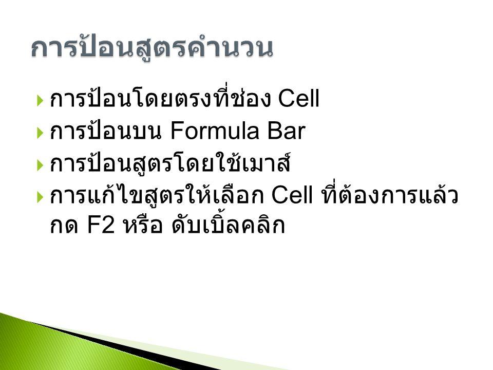  การป้อนโดยตรงที่ช่อง Cell  การป้อนบน Formula Bar  การป้อนสูตรโดยใช้เมาส์  การแก้ไขสูตรให้เลือก Cell ที่ต้องการแล้ว กด F2 หรือ ดับเบิ้ลคลิก