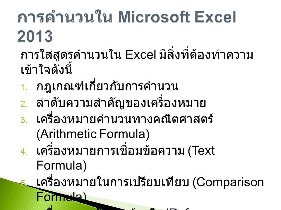 การใส่สูตรคำนวนใน Excel มีสิ่งที่ต้องทำความ เข้าใจดังนี้ 1.