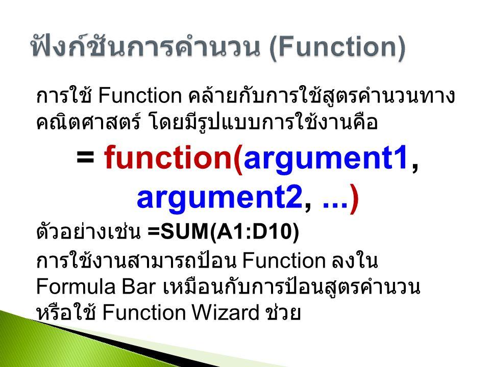 การใช้ Function คล้ายกับการใช้สูตรคำนวนทาง คณิตศาสตร์ โดยมีรูปแบบการใช้งานคือ = function(argument1, argument2,...) ตัวอย่างเช่น =SUM(A1:D10) การใช้งานสามารถป้อน Function ลงใน Formula Bar เหมือนกับการป้อนสูตรคำนวน หรือใช้ Function Wizard ช่วย