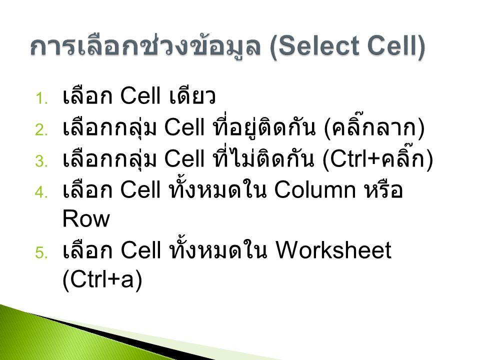 1. เลือก Cell เดียว 2. เลือกกลุ่ม Cell ที่อยู่ติดกัน ( คลิ๊กลาก ) 3.