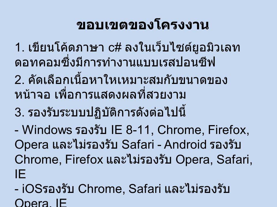 1. เขียนโค้ดภาษา c# ลงในเว็บไซต์ยูอมิวเลท ดอทคอมซึ่งมีการทำงานแบบเรสปอนซีฟ 2.