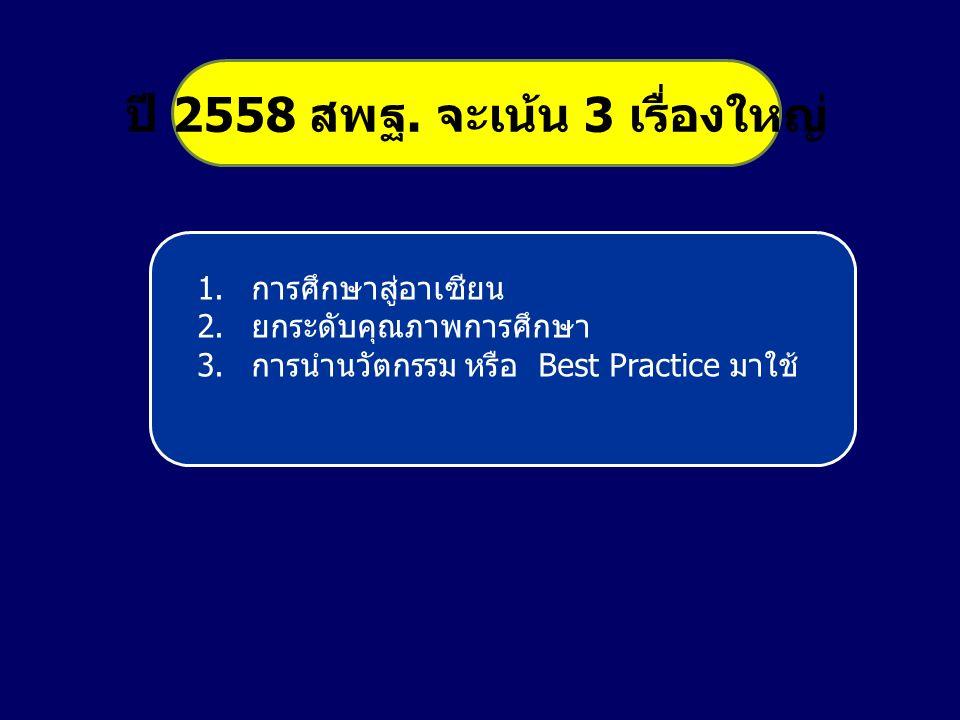 1.การศึกษาสู่อาเซียน 2.ยกระดับคุณภาพการศึกษา 3.การนำนวัตกรรม หรือ Best Practice มาใช้ ปี 2558 สพฐ.