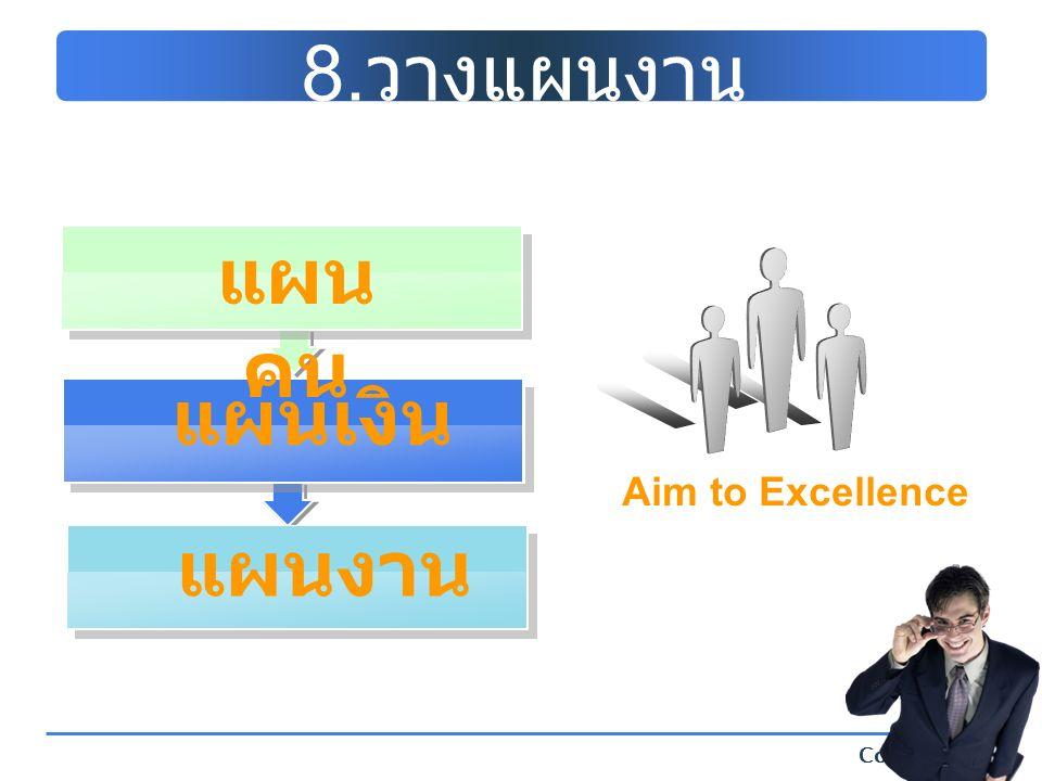 Company Logo 8. วางแผนงาน Aim to Excellence แผนเงิน แผน คน แผนงาน