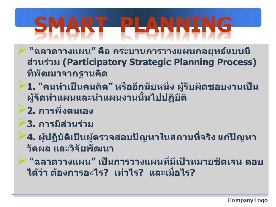 """Company Logo  """"ฉลาดวางแผน"""" คือ กระบวนการวางแผนกลยุทธ์แบบมี ส่วนร่วม (Participatory Strategic Planning Process) ที่พัฒนาจากฐานคิด  1. """"คนทำเป็นคนคิด"""""""