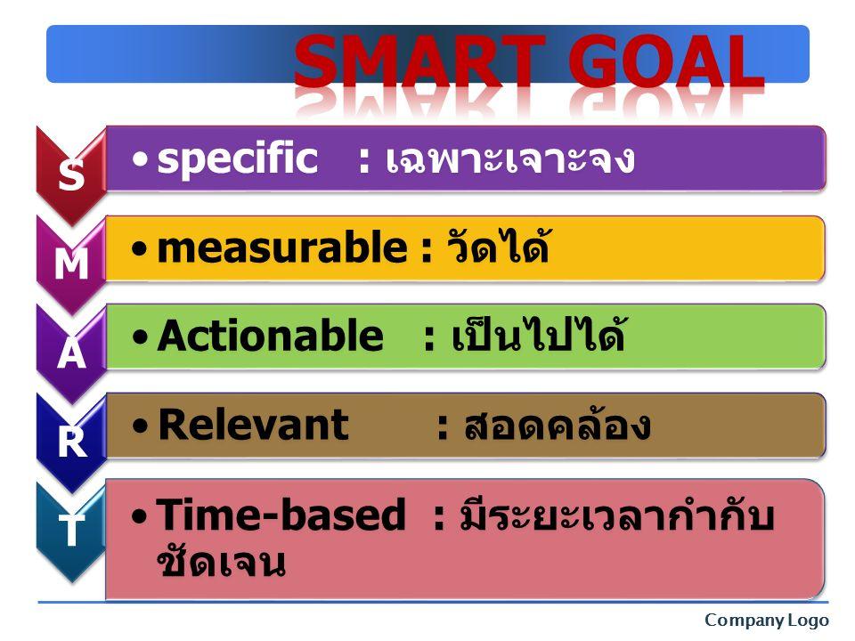 Company Logo S specific : เฉพาะเจาะจง M measurable : วัดได้ A Actionable : เป็นไปได้ R Relevant : สอดคล้อง T Time-based : มีระยะเวลากำกับ ชัดเจน