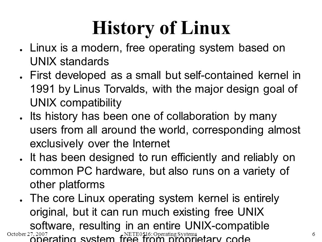 October 27, 2007NETE0516: Operating Systems 27 Changing Modes