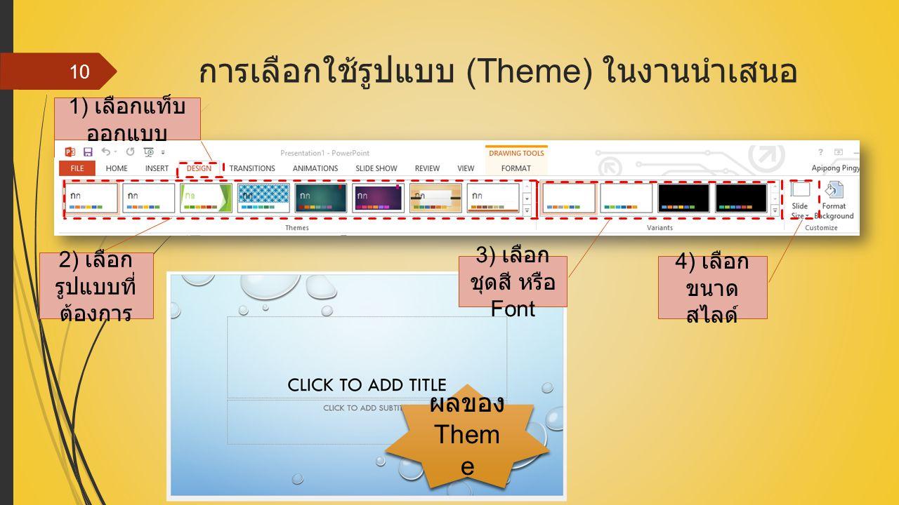 การเลือกใช้รูปแบบ (Theme) ในงานนำเสนอ 10 1) เลือกแท็บ ออกแบบ 2) เลือก รูปแบบที่ ต้องการ 4) เลือก ขนาด สไลด์ 3) เลือก ชุดสี หรือ Font ผลของ Them e