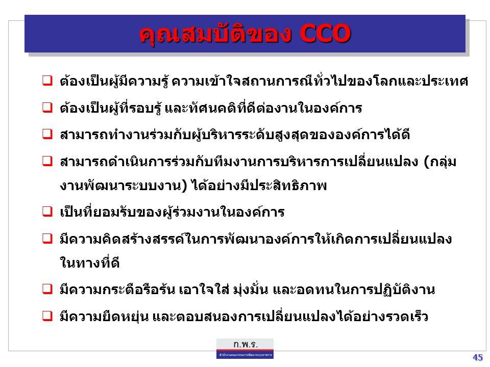 44 44 หน้าที่ความรับผิดชอบของ CCO (ต่อ)  ติดตาม รายงานผลการดำเนินงานตามยุทธศาสตร์การพัฒนาระบบ ราชการเสนอ CEO เพื่อสั่งการ  สื่อสาร สร้างความเข้าใจที่ถูกต้องกับข้าราชการในองค์การ เพื่อให้ เกิดทัศนคติที่ดีต่อการพัฒนาระบบบริหารราชการ  เป็นต้นแบบของการเปลี่ยนแปลง