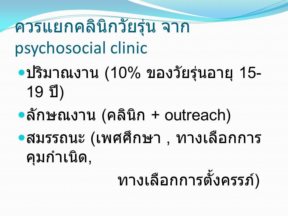 ควรแยกคลินิกวัยรุ่น จาก psychosocial clinic ปริมาณงาน (10% ของวัยรุ่นอายุ 15- 19 ปี ) ลักษณงาน ( คลินิก + outreach) สมรรถนะ ( เพศศึกษา, ทางเลือกการ คุมกำเนิด, ทางเลือกการตั้งครรภ์ )