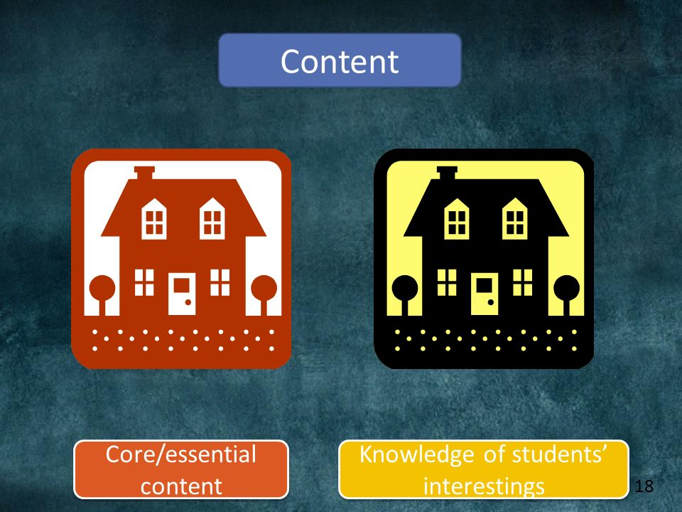 Content Core/essential content Knowledge of students' interestings 18