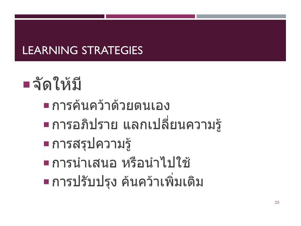 LEARNING STRATEGIES  จัดให้มี  การค้นคว้าด้วยตนเอง  การอภิปราย แลกเปลี่ยนความรู้  การสรุปความรู้  การนำเสนอ หรือนำไปใช้  การปรับปรุง ค้นคว้าเพิ่มเติม 25