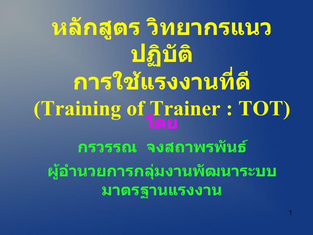 หลักสูตร วิทยากรแนว ปฏิบัติ การใช้แรงงานที่ดี (Training of Trainer : TOT) โดย กรวรรณ จงสถาพรพันธ์ ผู้อำนวยการกลุ่มงานพัฒนาระบบ มาตรฐานแรงงาน 1